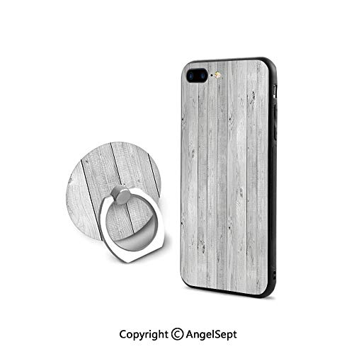 Protective Case Compatible iPhone 7/8 with 360°Degree Swivel Ring,Picture of Smooth Oak Wood Texture in Old Fashion Retro Style Horizontal Nature Design Print Decorative,Durable Soft Touching,Gray