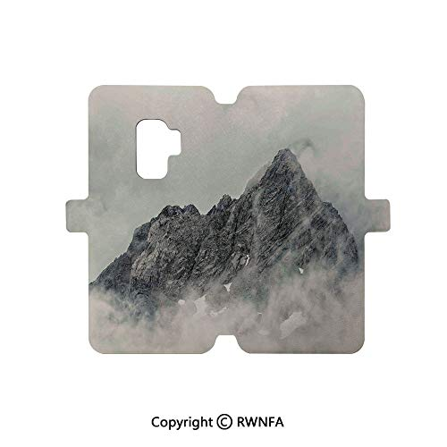 Premium PU Leather Magnetic Flip Folio Protective Sleeve for Galaxy S9,Matterhorn Summit with Cloud Mountain Scenery Glacier Natural Beauty,Blue White Black