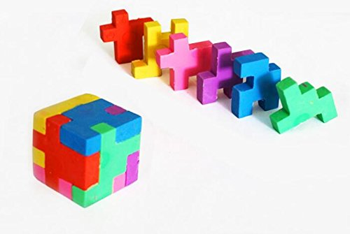 Cube Puzzle Eraser, 3 Styles Mini Colorful Geometric 3D Shape Cube Puzzle Pencil Rubbers Building Blocks Erasers Photo #4