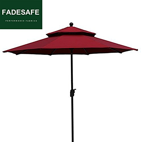 Burgundy Patio Umbrella (EliteShade 9Ft Market Umbrella Patio Outdoor Table Umbrella 2 Layers with Ventilation,Bonus weatherproof Cover (Burgundy))