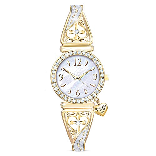Footprints Of Faith Gold-Tone Filigree-Designed Religious Women's Watch by The Bradford (State Ladies Heart Watch)