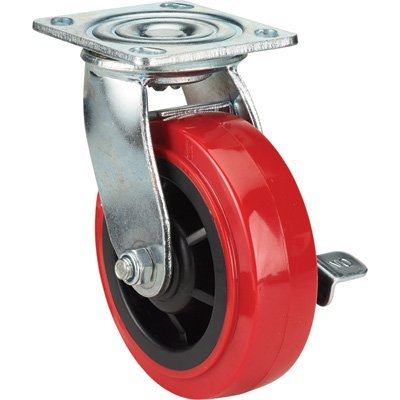 Ironton Standard-Duty 6in. Swivel Polyurethane Caster with Brake - 700-Lb. Capacity, Red
