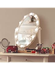 LUXFURNI Hollywood Lighted Vanity Makeup Mirror w/12 LED Lights, Touch Control Dimmable Cold/Warm Light, Adjustable Angle for Dressing Table (white)