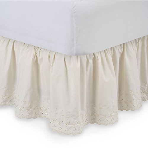 Harmony Lane Eyelet Ruffled Bed Skirt - 18'' Drop, Cal King , Bone Dust Ruffle with Platform (Available in all Sizes)