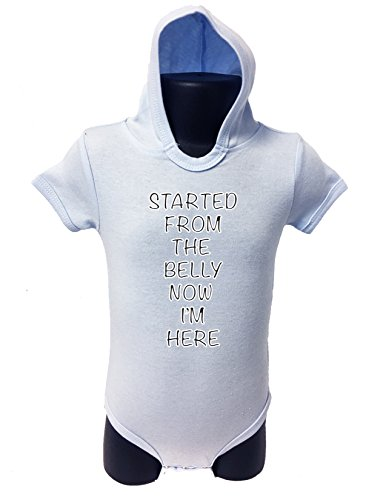 84 HOODIE BABY ROMPER SHORT SLEEVE ONESIE UNISEX FUNNY STARTED FROM.. GIFT POLY BAGGED A&G BRAND (6-12 Months, Light Blue)