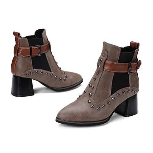 Boots Shoes With Punke Chunky Buckle Heel brown Mid Toe Ankle Agodor Womens Pointed Rivets dark qUwZx7P8A