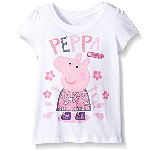 [Peppa Pig Toddler Short Sleeve Tee (4T, White Peppa Puddles)] (Movie Character Outfits)