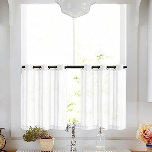 Kitchen Tier Curtains 24 inch White Tier Curtains for Bathro