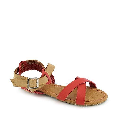 Sandalo Sherin-01 Di Bambù Rosso / Naturale