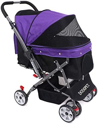 DODOPET – Dog Cat Pet Stroller, 4 Wheel Dog Cage Stroller, Reversible Handle Bar, Pet Travel Folding Carrier, Strolling Cart, Strong and Stable, for Medium Pets Up to 50 lbs, Two Color Purple