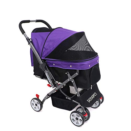 Spacious Foldable 3-Wheeled Dog and Cat Stroller by Giantix