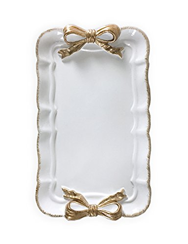 What's Fun Retro Rectangle Butterfly Bowknot Decorative Tray Plate for Dessert/Cake/Cafe/Home Décor (White)