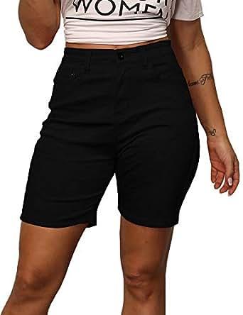 Zaoqee Women's High Waisted Knee Length Denim Shorts with Pockets Stretchy Jeans Black S