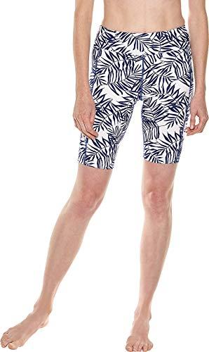 Coolibar UPF 50+ Women's Santa Cruz Swimming Shorts - Sun Protective (Medium- White/Royal Blue -