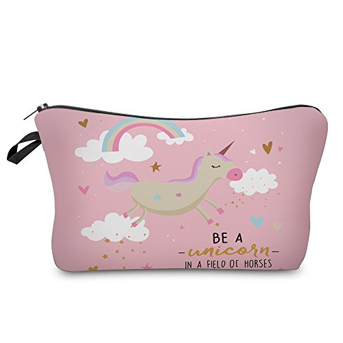 Multifunction Carry Bag - Makeup Toiletry Cosmetic Travel Carry Bag Zippered Luggage Pouch Multifunction Make-up Bag Pencil Holder Organizer for Men and Women (Cute Pink Unicorn)