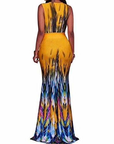 Top Neck Coolred Print Bodycon Retro V Maxi Womens Dress Tank Yellow Long txpwFq0Sp