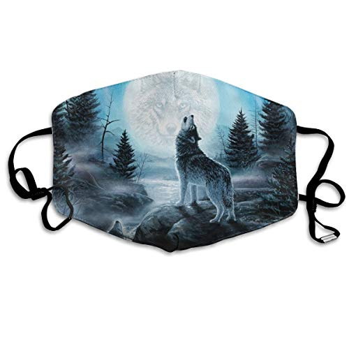 YUIOP Space Galaxy Wolves Howling Printed Mask Neutral Mask for Men and Women Polyester Dust-Proof Breathable Mask