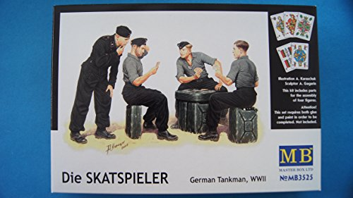 Master Box WWII German Tank Man Skats Players (4) and Jerry Cans (6) Figure Model Building Kits (1:35 Scale)