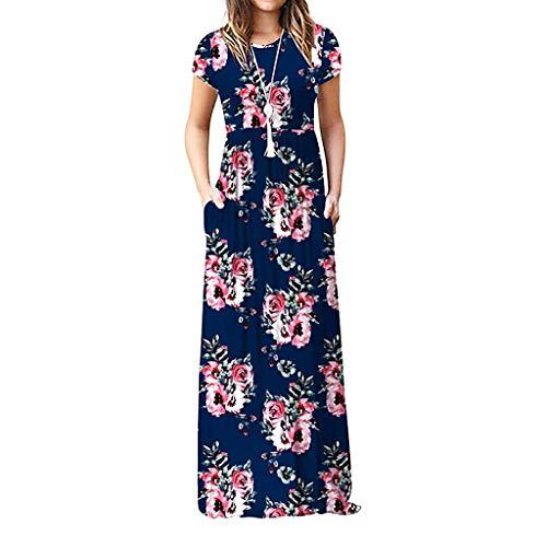 Ulanda Elegant Women's Maxi Dress Floral Printed Autumn Long Sleeves Casual Tunic Long Maxi Dress … (XX-Large, Navy Flower)