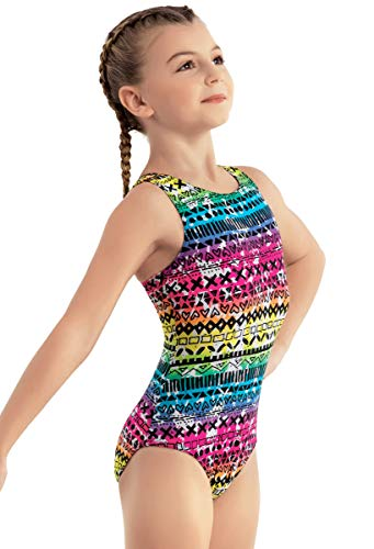 96fbafdd3f80 Balera Leotard For Gymnastics Girls One Piece With Rainbow-Colored Doodle  Print With Racerback For Practice And Competition Multi Child Large