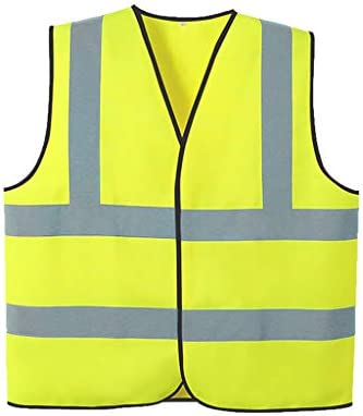 Reflective Vest Fluorescent Safety Vest Construction Night Running Riding Protective Clothing Safety Jacket (Color : Yellow, Size : XL)
