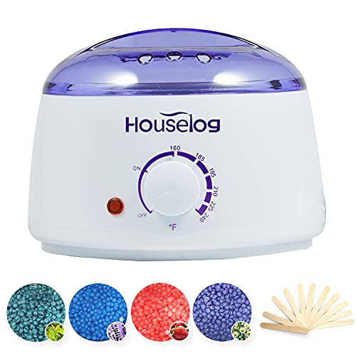 Houselog Wax Warmer Hair Removal Kit with 4 Different Hard Wax Beans and 10Pcs Wax Applicator Sticks for Women and Men (Round-White)