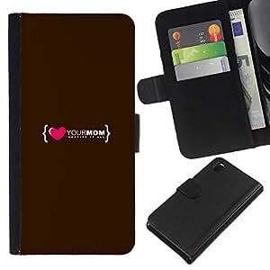 - FAMILY QUOTE LOVE MOTHER MOM HEART - - Prima caja de la PU billetera de cuero con ranuras para tarjetas, efectivo desmontable correa para l Funny House FOR Sony Xperia Z3 D6603
