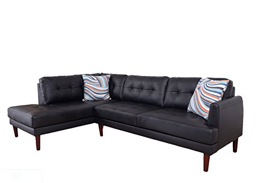 2 Piece Sectional With Chaise - LifeStyle Estella Two Piece Left Chaise Sectional Sofa Set, Black Faux Leather