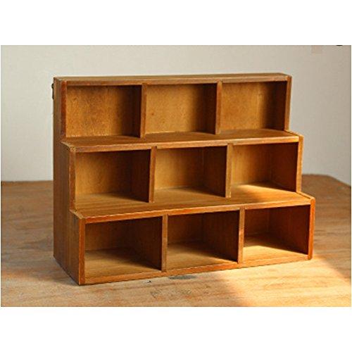 (Solid Wood Retro trapezoidal 9/12 Grid Storage Cabinet Wall Hanging Three Display Cabinet lockers)