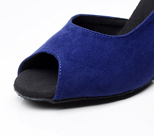 JSHOE Femmes Salsa Tango Ballroom Chaussures De Danse Latine Chaussures De Danse Party,Blue-heeled7.5cm-UK6.5/EU40/Our41