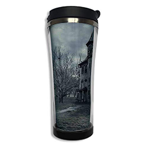 Customizable Travel Photo Mug with Lid - 14.2OZ(420 ml) Stainless Steel Travel Tumbler, Makes a Great Gift by,Halloween,Halloween Design with Gothic Haunted House Dark Sky and Leafless Trees Spooky Th