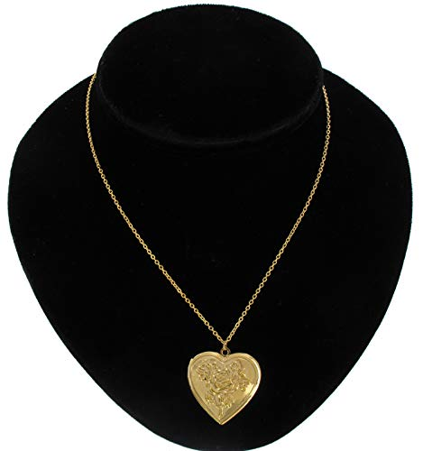 Pendant Photo Locket Necklace Gold Tone Rose Heart Necklace For Women