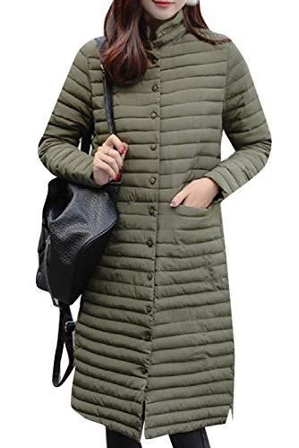 Green Puffer Breasted Mogogo Single Jacket Womens Thickening Casual Army Slim IYI1wzq