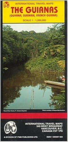 The Guianas map Guyana SurinamFrench Guiana Travel Reference