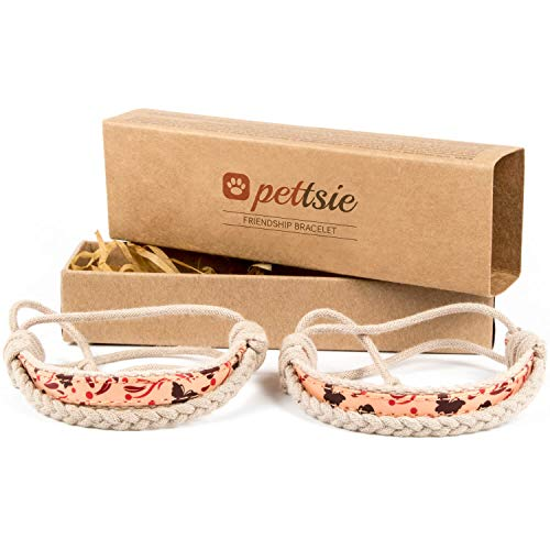 Pettsie Matching Friendship Bracelets, 2 Pack Set, Easy Adjustable, 100% Cotton and Hemp (Red) ()