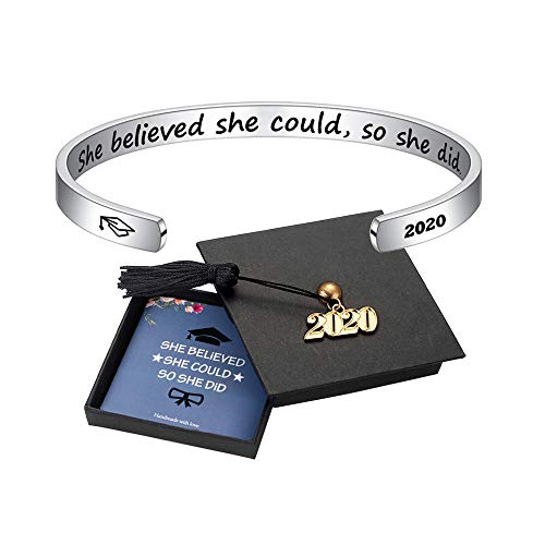 M MOOHAM Inspirational Graduation Gifts Cuff Bracelet – Engraved Inspirational Bracelet Cuff Bangle with 2021 Graduation…