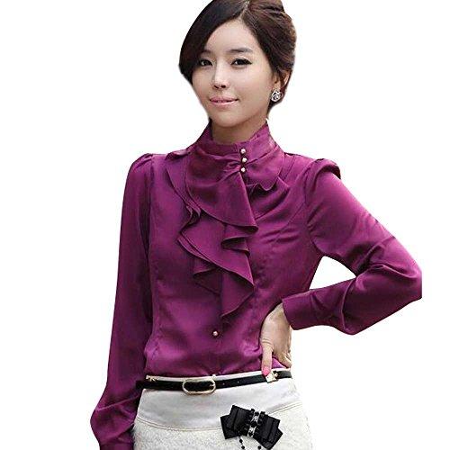 Women's Lace Ruffle Neck Blouse Long Sleeve Stand Collar OL Shirt Tops Purple L