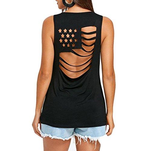 Axchongery Women Blouse Plus Size National Flag Vest Hollow Out Patchwork T-Shirt (Black, XL) - Ladies Diagonal Stripes