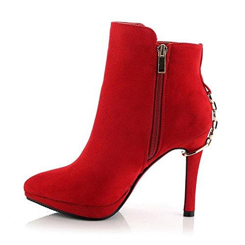 AgooLar Damen Schließen Zehe Blend-Materialien Niedrig-Spitze Hoher Absatz Stiefel Rot-Metallstück