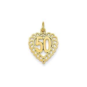 14k Gold 50 in Heart Charm Pendant (0.87 in x 0.59 in)