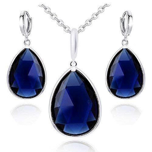 (Teardrops Blue Simulated Sapphire Zirconia Austrian Crystals Set Pendant Necklace 18