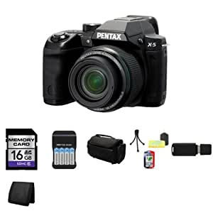 """Pentax X-5 Digital Camera with 26x Optical Zoom and 3"""" LCD (Black) + 16GB SDHC Class 10 Memory Card + 4 AA NiMH Rechargeable Batteries with Charger + Carrying Case + Mini Tripod Kit + USB SDHC Reader + Memory Wallet"""
