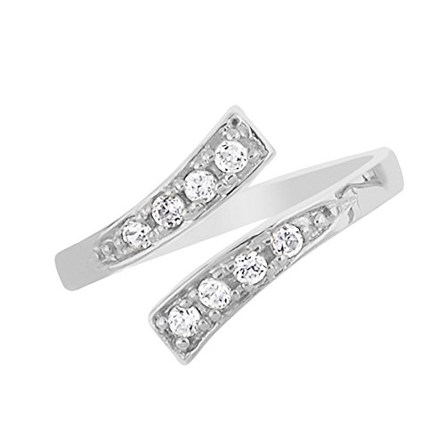 10K White Gold Crossover Shiny CZ Cubic Zirconia Toe Ring or Ring Adjustable by Ritastephens