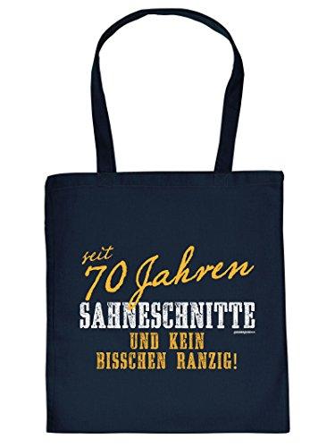seit 70 Jahren SAHNESCHNITTE ... :Tote Bag Henkeltasche. Beutel mit Aufdruck. Tragetasche, Must-have, Stofftasche