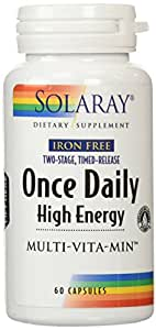 Solaray Iron Free Two-Stage Timed-Release Once Daily High Energy Capsules, 60 Count