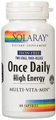 Solaray Iron Free Two-Stage Timed-Release Once Daily High Energy Capsules, 60 Count (Iron Free 60 Capsules)