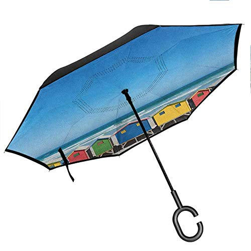 """Bottle Tip Travel Portable Reverse Umbrellas Colorful Bathhouses at Muizenberg Cape Town South Africa Standing in a Row Touristic with C-Shaped Handle 42.5""""x31.5""""Inch Multicolor"""