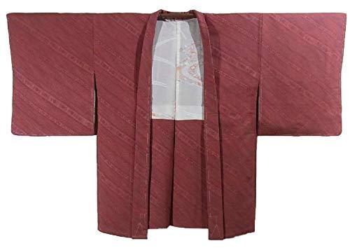補助連合必要条件リサイクル 羽織 斜め縞に花模様 正絹 裄63.5cm 身丈82cm