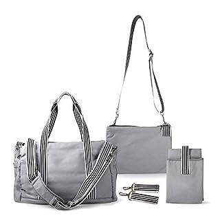 5 in 1 Multifunctional Diaper Bag Set: Shoulder/Backpack Convertible Bag Total 10 Pockets Perfect for Weekend Travel- Plus Handbag with Adjustable Shoulder Strap, Stroller Straps, Diaper Changing Pad