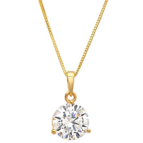 Clara Pucci 2.0CT Brilliant Round Cut Simulated Diamond CZ 14K Yellow Gold Martini Solitaire Pendant Box Necklace 18
